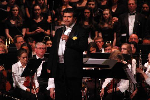 Composer Samuel R. Hazo spoke before the world premiere of his Glorificare was performed at Newtown High School on Wednesday, May 22.
