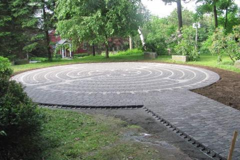 The finished labyrinth is in the northern part of Trinity's property, just off Church Hill Road, near the church's memorial garden. It will offer a place for focused walking meditation or prayer for anyone who wishes to visit it.