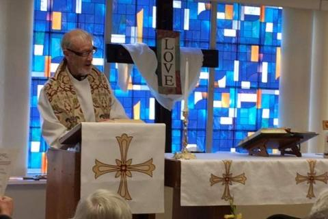 The 50th anniversary of the ordination of the Reverend Leo McIlrath was celebrated on May 5, which also honored the Ascension of Jesus, by residents and staff at The Lutheran Home of Southbury.  (Denise Cass photo)