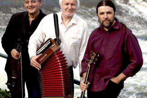 The Máirtín O'Connor Trio — from left Cathal Hayden, Mr O'Connor and Seamie O'Dowd — will open a nine-date tour of the Northeast on April 10 at Newtown Meeting House.