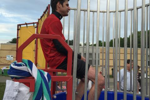 Middle Gate Elementary School Principal Chris Geissler took his turn in a dunk tank during this year's Middle Gate Madness.