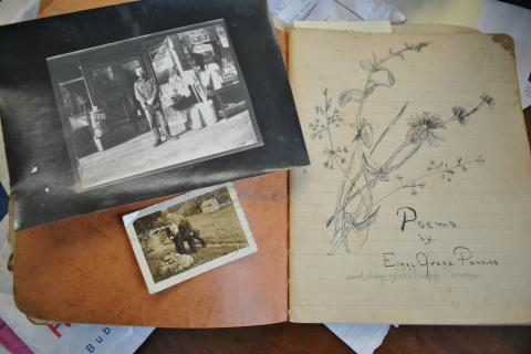 Inside one of three diaries kept by Birdsey Parsons, Mr Cruson discovered two photographs of the journals' author as a young man; this particular journal contains original poetry by Mr Parsons' sister, Ethel.  (Bee Photo, Crevier)