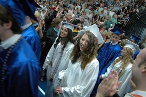 Members of the Newtown High School Class of 2013 made their way into Western Connecticut State University's O'Neill Center Saturday, June 22, for commencement exercises.