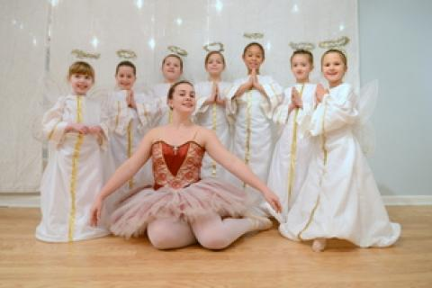 Joining the performance this year are younger dancers as angels. From left are Caitlin Potter, Lila Spencer, Mary Morrison, Laura Delp, Serena Newnham, Hayden Hughes, Vivien Vass. They surround the Sugar Plum Fairy (Hannah Halloran).