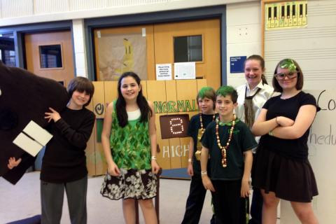 Odyssey of the Mind Team members in Coach Carol Shuman's team at the April 6 state tournament. From left are Newtown Middle School seventh graders Scott Preszler and Julia Shuman, Reed Intermediate School fifth grader Nick Preszler, Sandy Hook…