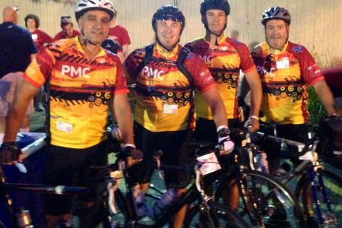 Sandy Hook fathers John Principi, Jeremy O'Connell, Matt Murphy, and Brendan Duffy cycled 192 miles in the Pan Mass Challenge to raise money for the Dana Farber Cancer Institute of Boston.