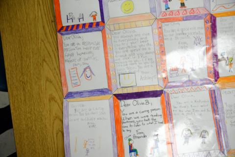A Complimentary Quilt created for one student in Middle Gate fourth grade teacher Linda Baron's class.