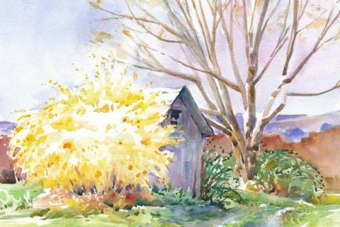 """""""Forsythia Frenzy"""" by Diane Dubreuil, who will be the guest artist for the next program hosted by The Society of Creative Arts of Newtown."""