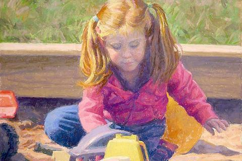 """""""Sandbox Play"""" is a pastel by Clayton Buchanan, who will be the guest artist at the next Society of Creative Arts of Newtown program."""