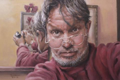 """""""me with glasses,"""" by Harry Berman (acrylic, 11½"""" by 18""""). Mr Berman is a member of The Society of Creative Arts of Newtown (SCAN), and will be among those participating in SCAN's 43rd Annual Spring Juried Art Show."""