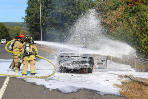 Sandy Hook Volunteer Fire & Rescue firefighters responded to a car fire on I-84 East that was reported shortly after 2 pm Sunday, September 27. Upon arriving, firefighters - including Lieutenant John Jeltema, left, and EMS Captain Karin Halstead…