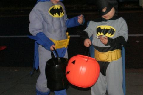 Batman, meet Batman. One of the most popular costumes seen this year was the DC Comics superhero. These two met on the sidewalk in front of The Newtown Bee and after assessing each other's costumes, moved on to comparing candy.