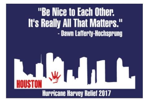 Newtownapparel.com is selling T-shirts to support victims of Hurricane Harvey.