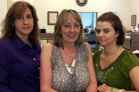 Newtown Assistant Town Clerks, from left, Renee Weimann, Monica Duhancik, and Aileen Nosal are supporting Town Clerk Debbie Aurelia in hopes that the legislature will take up and pass a bill that would limit the amount of information available to…