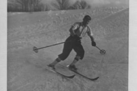 Back in February 1938, the grounds of the Newtown Country Club made a great place for skiing. In this photo, Herman Newell Tiemann III, usually behind the camera capturing people and places around Newtown, is caught on film making his way downhill…