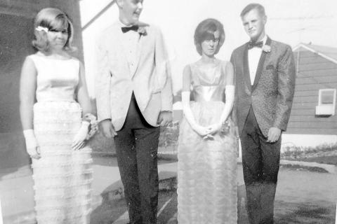 Theodore Soderberg shares this 1965 photo from the Newtown/Sandy Hook High School junior prom. Ready for prom night fun are from left, Donna Hull, Theodore Soderberg, Joan Georgevich, and Ren Weyerstrass.