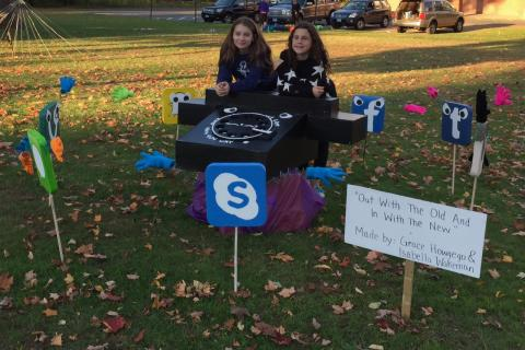 "Third place in the contest went to the ""Out With The Old, In With The New"" or Scarecrow 29, created by Isabella Wakeman, left, and Grace Howgego."