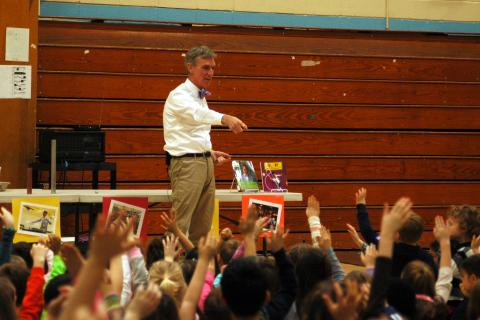 "Bill Nye ""The Science Guy"" spoke to Sandy Hook School Elementary School students in the school's gymnasium on January 13, for a whole school assembly."
