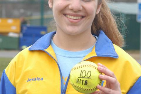 Jess Gibbons collected her 100th career hit in Newtown's win over Pomperaug on April 10.