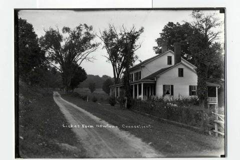 Town Historian Dan Cruson's office at Edmond Town Hall is filled with Newtown's bits and pieces of days past, including this undated photograph of Liakos Farm, revealing a long-ago agricultural living.  (photo courtesy Newtown Historical Society)