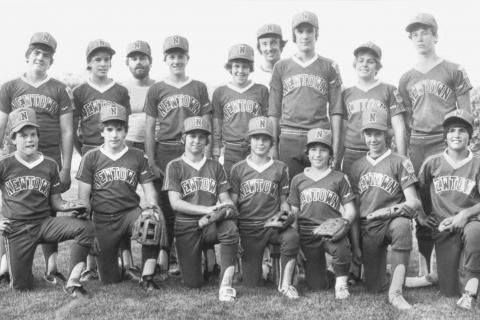 "Marked only as ""Sports,"" this Bee file photo is dated August 13, 1982. A boys' baseball team and two coaches pose for the camera.  (Bee file photo)"
