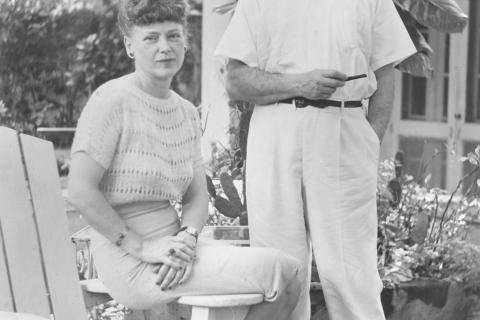 """In an official photo stamped by the Bahamian government, this is a formal photo from 1946 of Mr and Mrs Rea Irvin of Newtown. They are pictured at their """"Lofthouse"""" during a recent holiday in Nassau, Bahamas. At the time, Mr Irvin was the art…"""