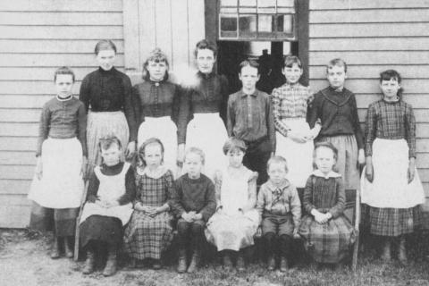 Very few pictures of the Gray's Plain School exist but this 1890 photograph shows the class of Elizabeth Wheeler (to the left of the window), who later became Mrs Homer Clark. To Miss Wheeler's left is Agnes Ryan, who became a highly…
