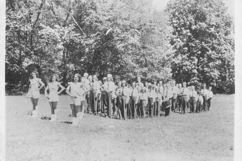 Jay Mattegat shared this 1948 photo of the Striders, a Newtown marching group. In the center of the first row of marchers, behind the majorettes, is Mr Mattegat's mother, Irene Cappellini. Other marchers noted on the back of the photo are Pat…