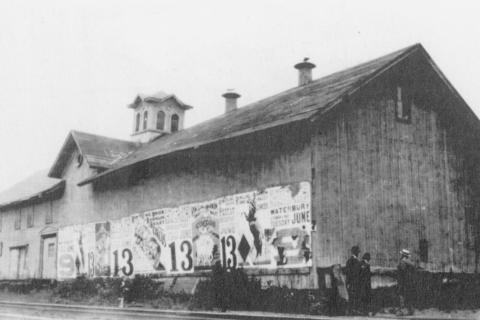 Owned by the New York, New Haven, and Hartford Railroad, this building was leased by the Borden Milk Company and served as a point to which farmers could bring their milk for shipping to Borden's processing plants. The creamery, shown here in…