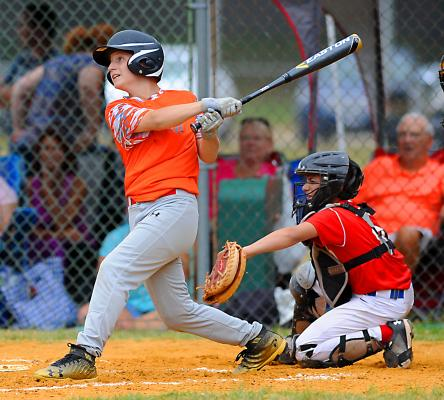 (Chip Moon photo) Taconic Hills' Tyler Peck drives a double through the right center gap during a AAA 10-12 year olds All-Stars game versus National (2) on Saturday, July 14 in Claverack.  Peck went two for three on the day as Taconic Hills (3-0 in tournament play) defeated National II, 8-2.