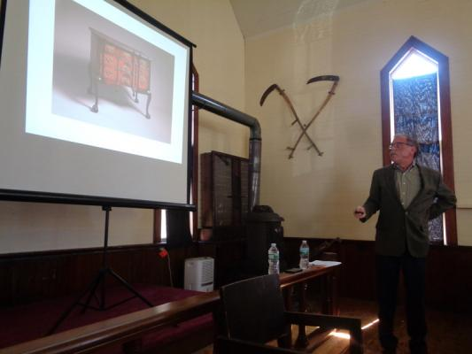 Daniel Zuckerman/Columbia Greene Media David A. Gallagher Shows A Piece Of Colonial  Revival Furniture In Copake Falls.