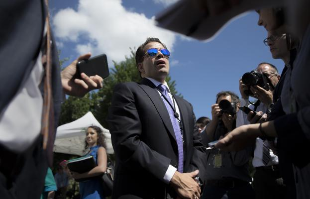 Anthony Scaramucci, the new White House communications director, speaks to reporters on the North Lawn driveway, in Washington, July 25, 2017. President Donald Trump has decided to remove Scaramucci from his position, three people close to the decision said on July 31. His abrupt removal came just 10 days after he was brought on to the West Wing staff, and came at request of the new chief of staff, John Kelly, sources said. (Tom Brenner/The New York Times)