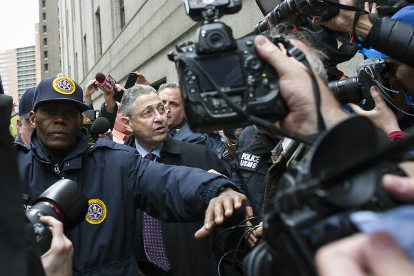 Sheldon Silver, a former New York State Assembly speaker found guilty of corruption, outside court in New York, May 3, 2016. A federal appeals court on July 13, 2017, overturned the corruption conviction of Silver, who obtained nearly $4 million in illicit payments in return for taking official actions that benefited others, according to evidence presented at his trial. (Gregg Vigliotti/The New York Times)