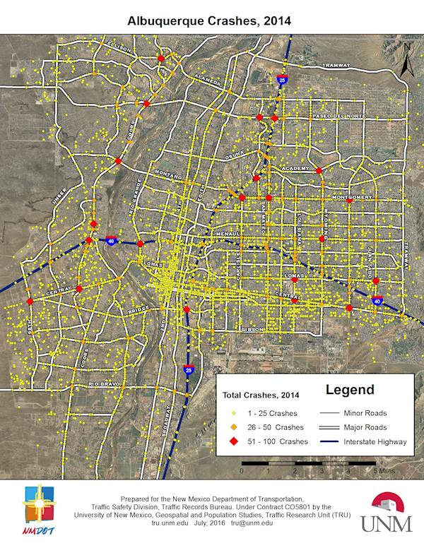 Ranked Abq's Worst Intersections: New Mexico Unit 51 Map At Infoasik.co
