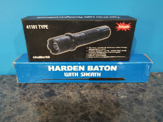 New! Lot Of 2 Pieces - 1 Rechargeable Stun Gun & 1 Harden Extendable Baton With Sheath