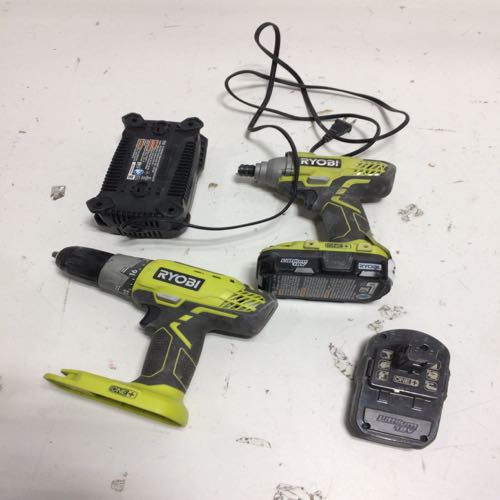 Lot of 2 Ryobi 2 Power Drills With Battery Charger