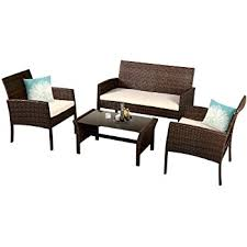 Amazon Basics B07X5XSRPT Charles 4-piece Outdoor Garden Rattan Patio Set brown & grey