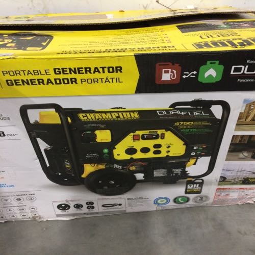 Champion Dual Fuel 76533 portable generator size 4750 starting watts