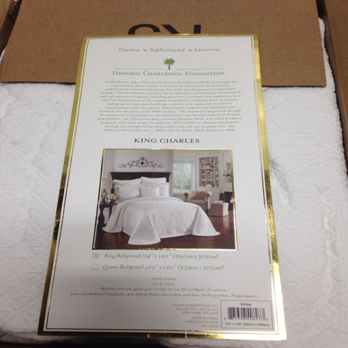 Historical Charleston Foundation RN105021 King Charles Bed Spread size king White