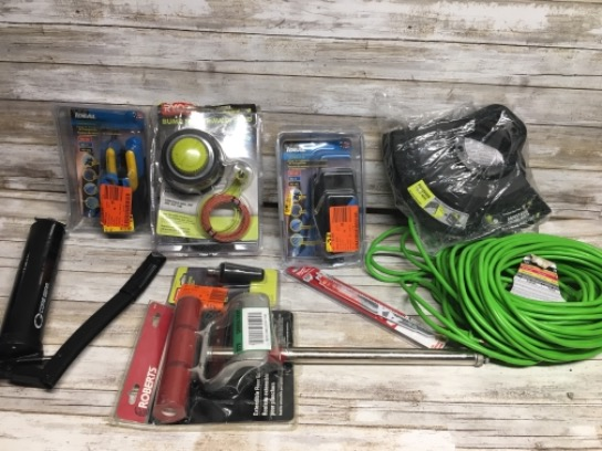 Lot Of 9 Assorted Tools Husky 100 Ft. 16/2 Indoor/Outdoor Extension Cord, Green/Roberts Extendable Floor Roller/Milwaukee 9 In. 5 Teeth Per In./Ideal LinearX 3 Compression Hip Tool Kit/RYOBI Reel Easy Trimmer Head With Speed Winder/RYOBI 3,300 PSI Gas/Ele