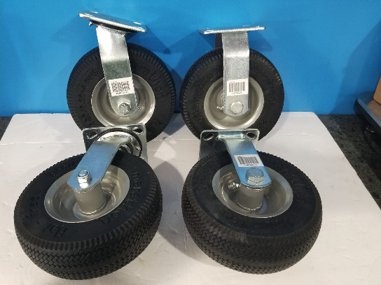 New Set Of 4 - 2 Swivel To Straight Marathon Flat Free Caster Wheels 2.80/2.50-4 Nhs Retail Over $100!