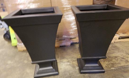 New Lot  X 2  Tall  Black  Outdoor Indoor Planter Pots