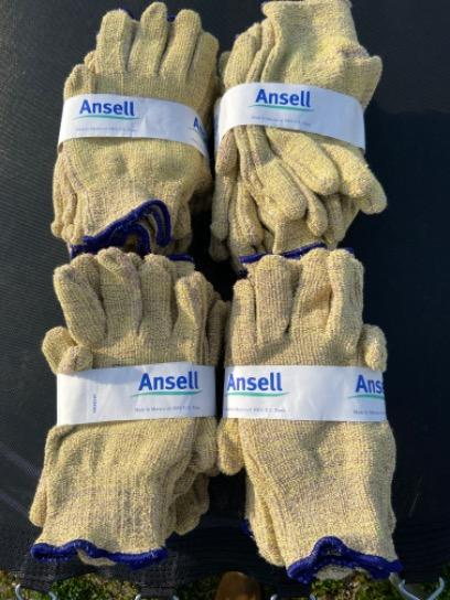 Lot Of 24 Pair Ansell Golden Needles Cut Resistant Kevlar Blend Gloves Large