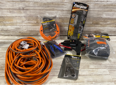 Mixed Lot Of 7 Rigid 100ft Extension Cord/Klein Tools Steel Fish Tape 50'/Electrician Multi Tool/wire Stripper Cutter/Husky 15amp In LineGFCI/carrying Case