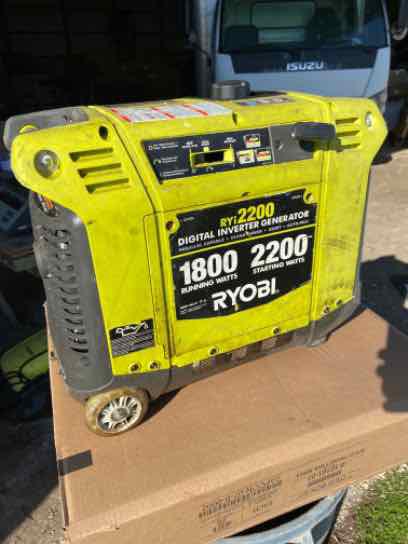 Ryobi RYI2200 2,200 Starting Watt Green Gasoline Powered Digital Inverter Generator