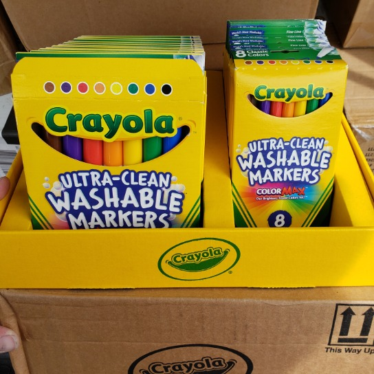 1 Case Store Display Crayola Ultra Clean Washable Markers Small And Large In Display 24 Retail Units