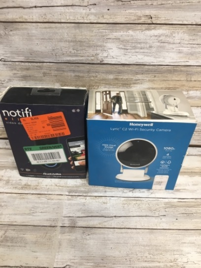 Lot Of 2 Honeywell Wired Indoor Wi-Fi Security Standard Surveillance Camera Intelligent Audio Detection 24-Hour Cloud Storage And SD Card/Notifi Notifi Elite Wired Video Door Bell