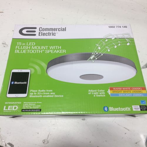 Commerical Electric 1002 774 146 Led Flush Mount With Bluetooth Speaker  size 15