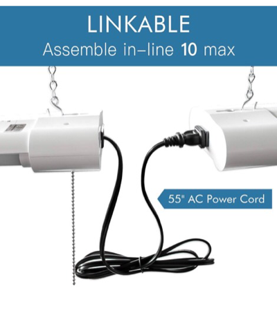 """Lot Of 4 LED 48"""" Shop Lights For Garages, Work Areas And Small Warehouses 3570 Lumen / 5000K CCT White, 40W With Hanging Chain"""