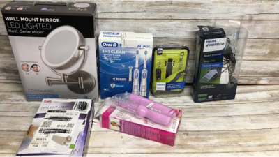 Mixed Lot Of 6 Items Wall Mount Mirror Led Lighted/beurer Daylight Lamp/oral B Battery Toothbrush/philips Beard Trimmers